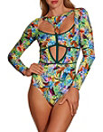 Passionflower One Piece Swimsuit Photo