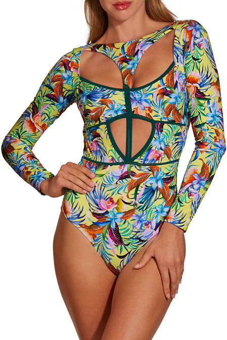 Passionflower one piece swimsuit image