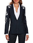 Pinstripe Embroidered Blazer Photo