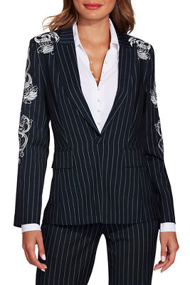 Pinstripe embroidered blazer