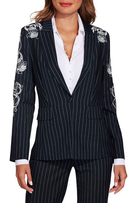 Pinstripe embroidered blazer image