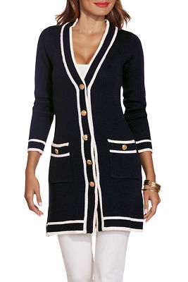 Piped button down sweater coat