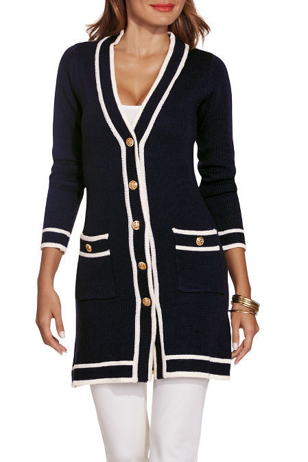 Piped button down sweater coat image