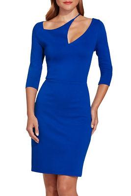 Ponte asymmetric cutout sheath dress