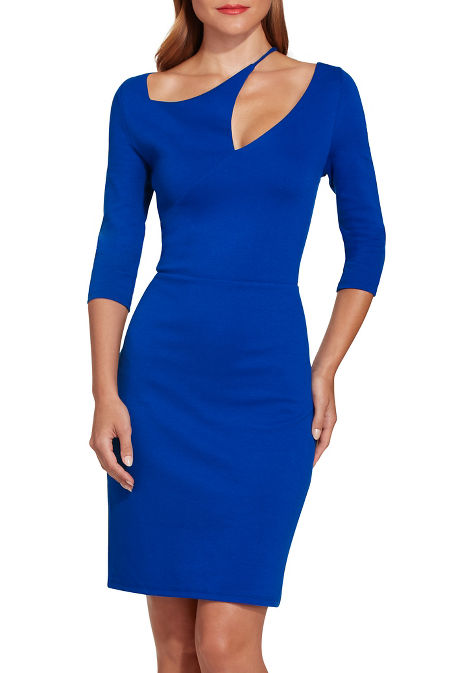 Ponte asymmetric cutout sheath dress image