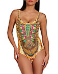 Printed Embellished One Piece Swimsuit Photo