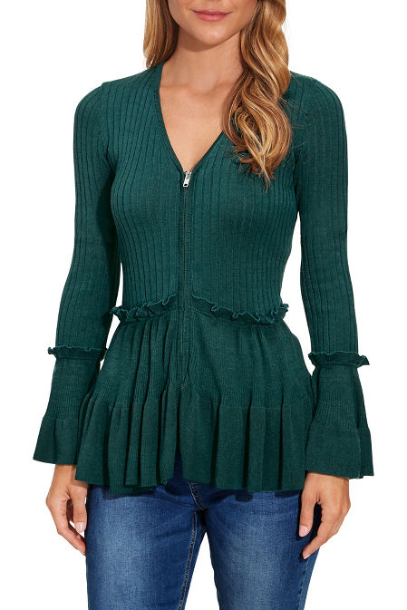 Ruffle detail zip up cardigan image