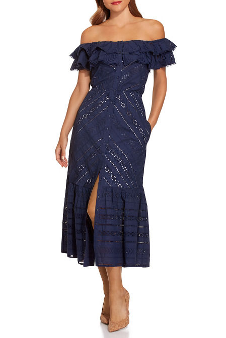 Ruffle eyelet button midi dress image