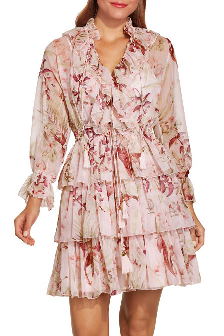 Ruffle floral print dress image