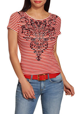 Display product reviews for Scroll print stripe top
