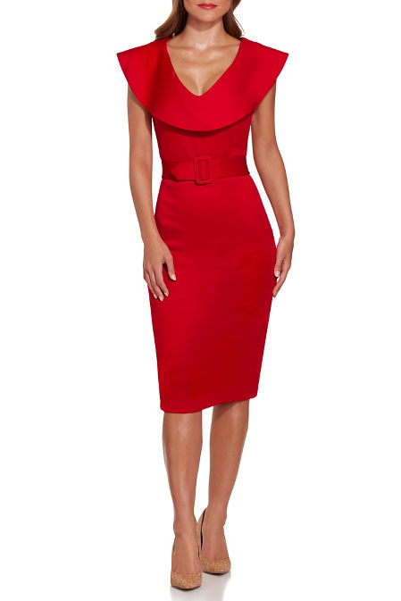 Scuba belted sheath dress image