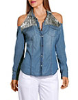 Sequin Cold Shoulder Denim Shirt Photo