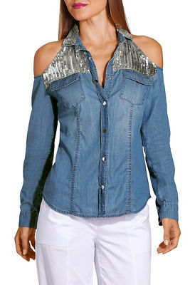 Sequin cold shoulder denim shirt