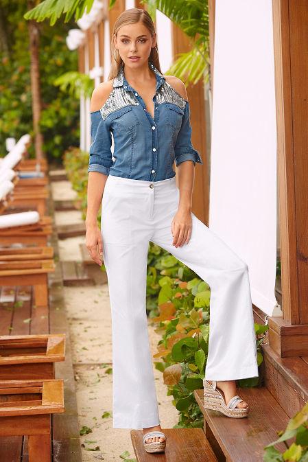 Sequin cold shoulder denim shirt image