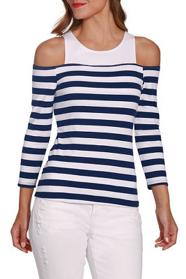 Display product reviews for So Sexy™ cold shoulder stripe top