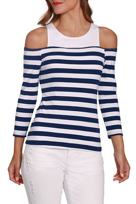 So Sexy™ cold shoulder stripe top