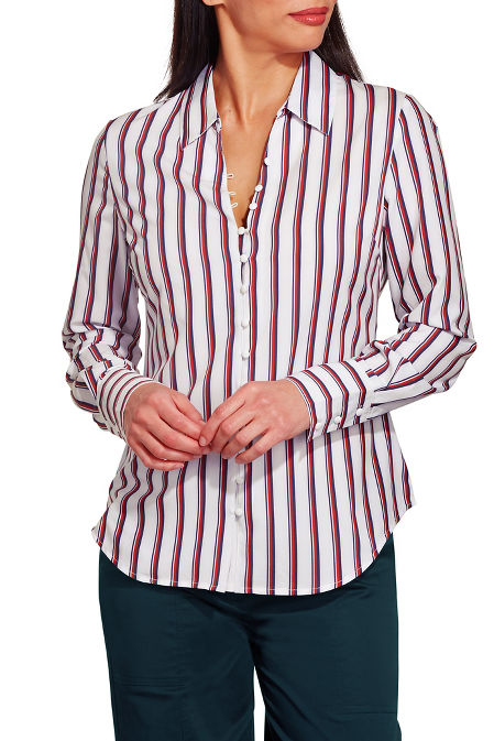 Stripe covered button shirt image