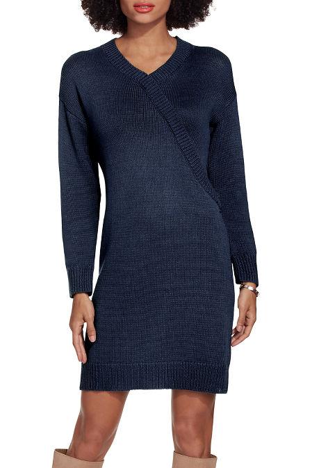 Surplice sweater dress image