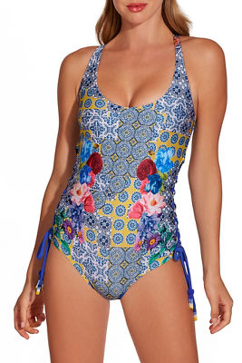 tile print floral one piece swimsuit