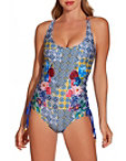 Tile Print Floral One Piece Swimsuit Photo