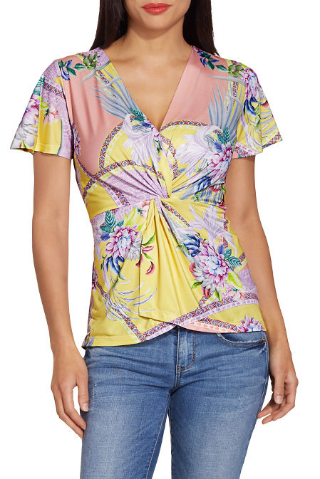 Twist front short sleeve print top image