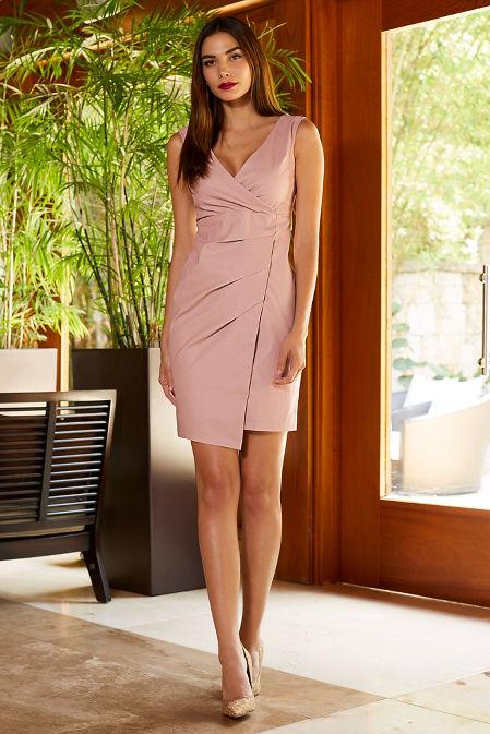Vegan leather faux wrap sheath dress image