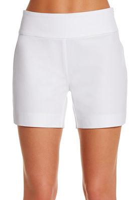 Everyday side zip twill five inch short