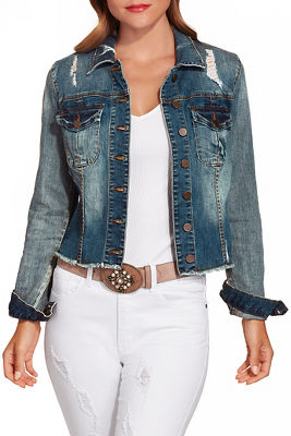Denim frayed hem jacket