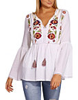 Embroidered Tassel Tunic Top Photo
