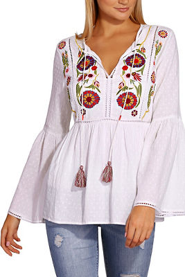 Embroidered tassel tunic top