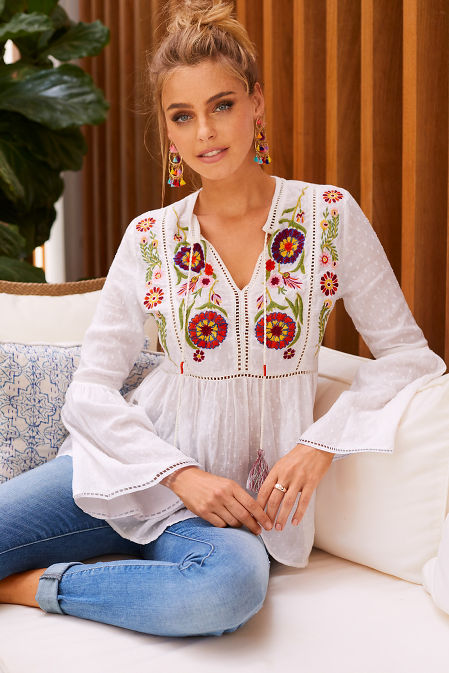 Embroidered tassel tunic top image