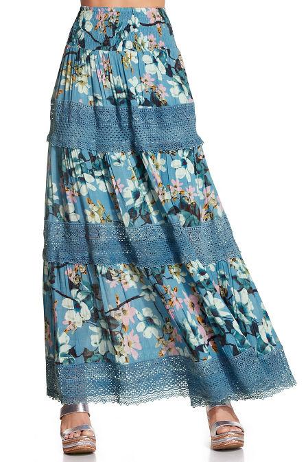 Floral crochet maxi skirt image