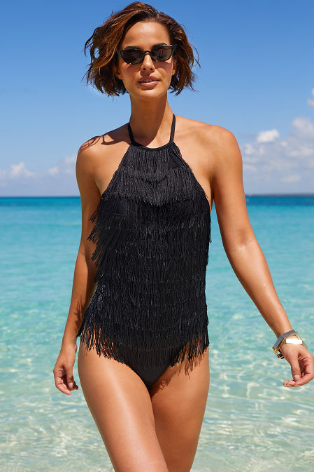 fringe one piece swimsuit image