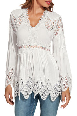 Display product reviews for Lace long sleeve tunic top