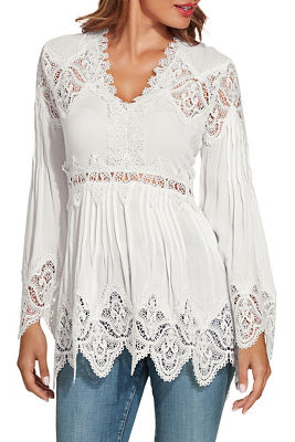 Lace long sleeve tunic top
