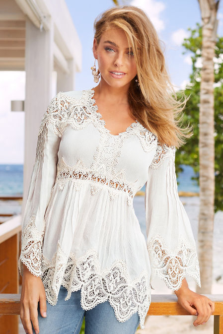 Lace long sleeve tunic top image