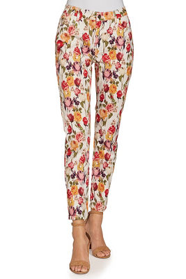 Rose printed ankle jean