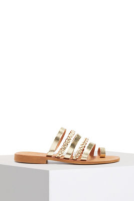 Woven metallic flat sandal