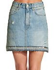 Embellished Hem Denim Skirt Photo