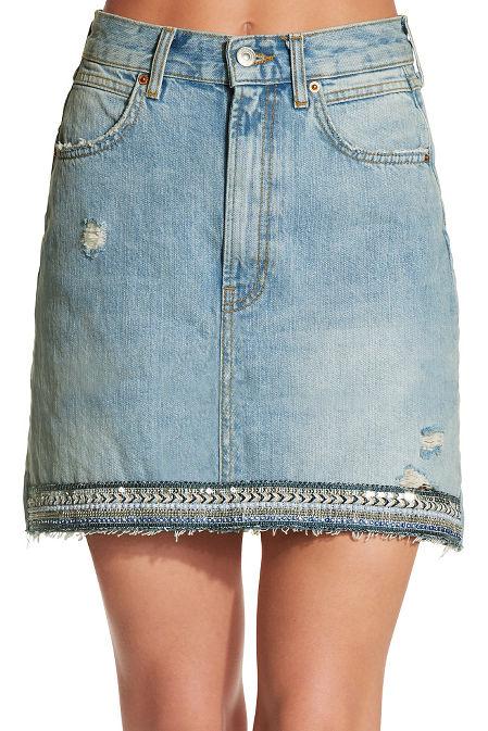 Embellished hem denim skirt image