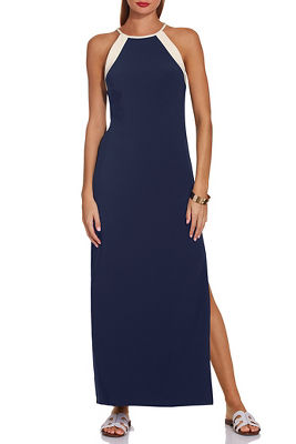 beyond travel™ colorblock high neck maxi dress