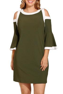 Beyond travel™ cold shoulder flare colorblock dress