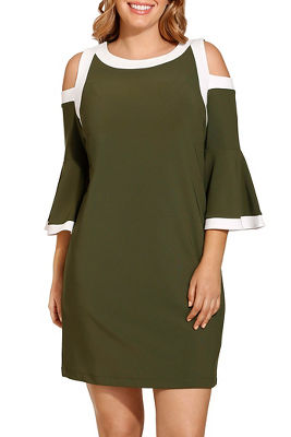 Beyond travel™ cold shoulder flare colorblock dress