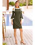 Beyond Travel™ Cold Shoulder Flare Colorblock Dress Photo
