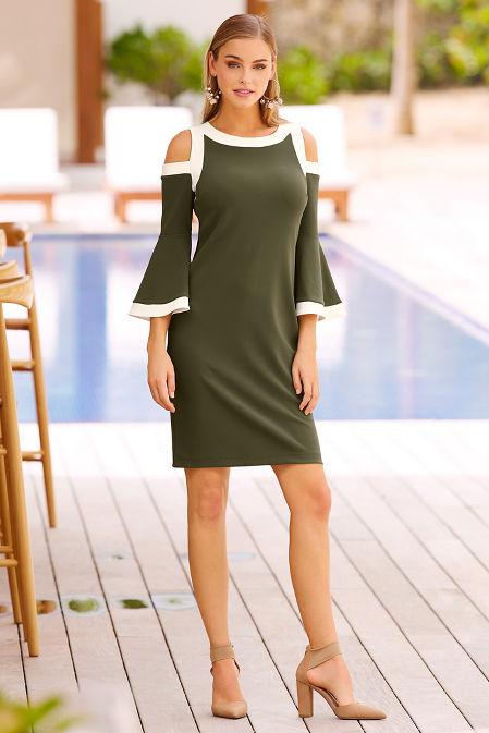 Beyond travel™ cold shoulder flare colorblock dress image