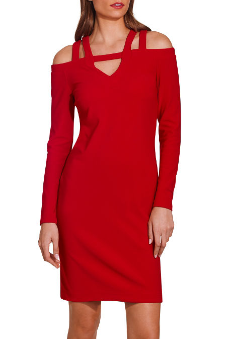 Beyond travel™ Cold Shoulder Strap Keyhole Long Sleeve Above the Knee Dress image