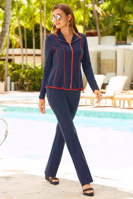 Beyond travel™ piped peplum two piece warm up image