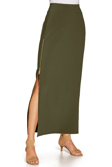 Beyond travel™ side zip maxi skirt image