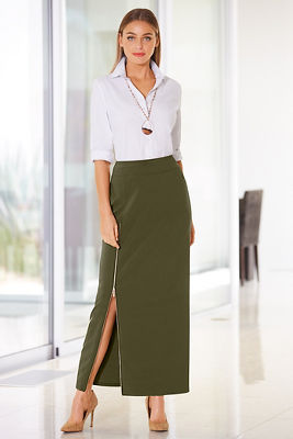 Beyond travel™ side zip maxi skirt