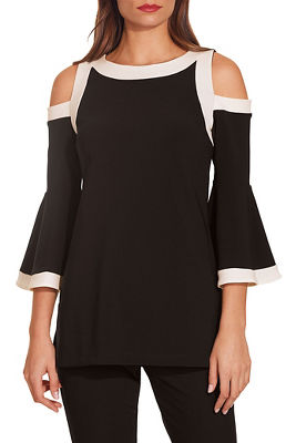 0f800672b9cdf bEYOND TRAVEL™ COLORBLOCK COLD-SHOULDER FLARE-SLEEVE TOP